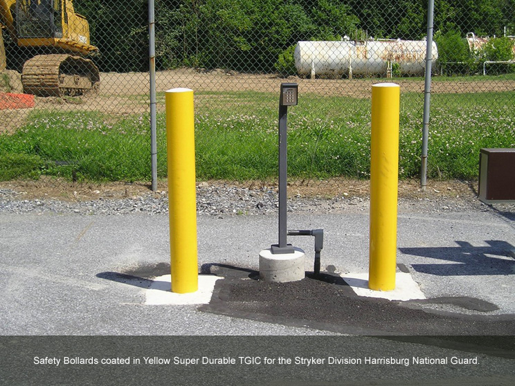 Bollards with yellow super durable TGIC.