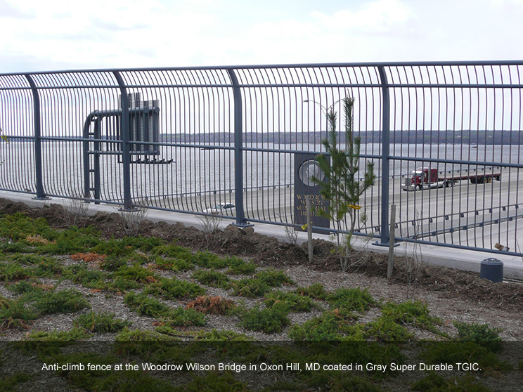 Tall fence in gray super durable TGIC.