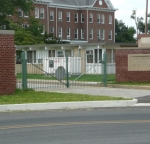 Iron fence with green super durable TGIC.
