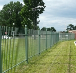 Wrought iron hospital fences in green TGIC.