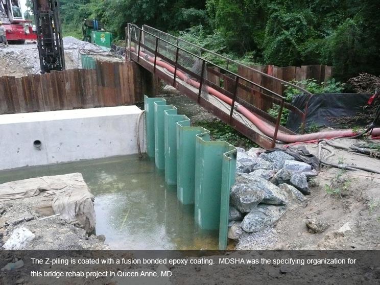 Z piling under bridge with bonded epoxy coating.