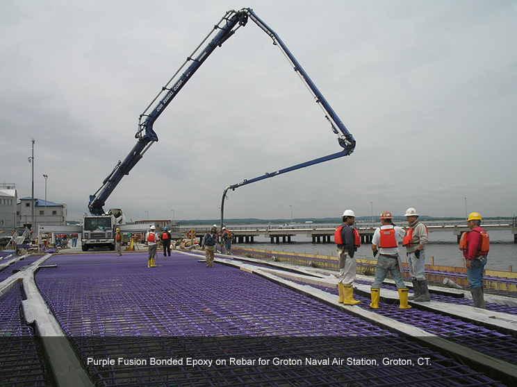Rebar with a purple epoxy coating.