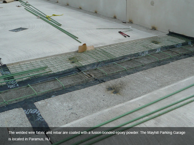 Wire fabric and rebar covered in safety powder.