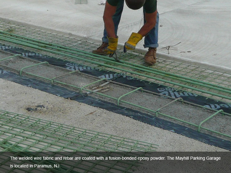 Rebar and fabric coated with epoxy safety powder.