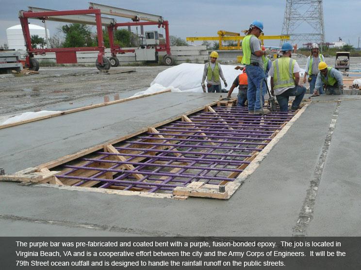 Purple bars bent with fused epoxy.