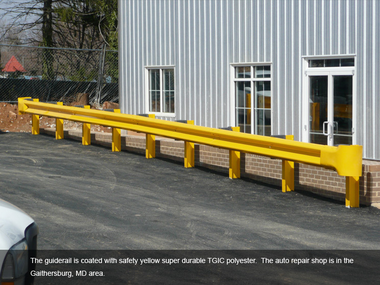 Guide rail coated with yellow durable TGIC polyester.