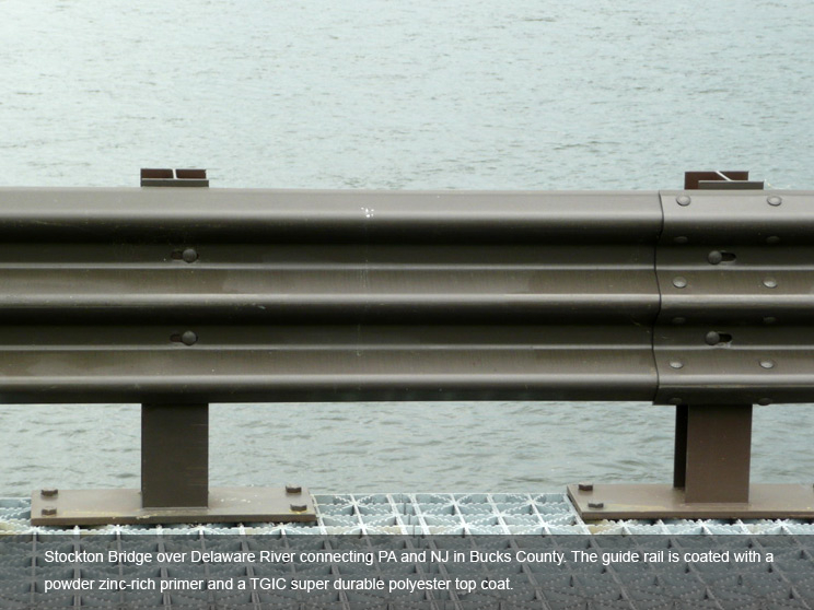 Guard rail with a polyester coating.