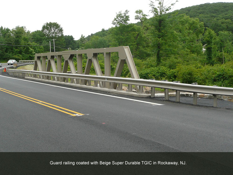 Bridge with beige TGIC polyester powder coating.