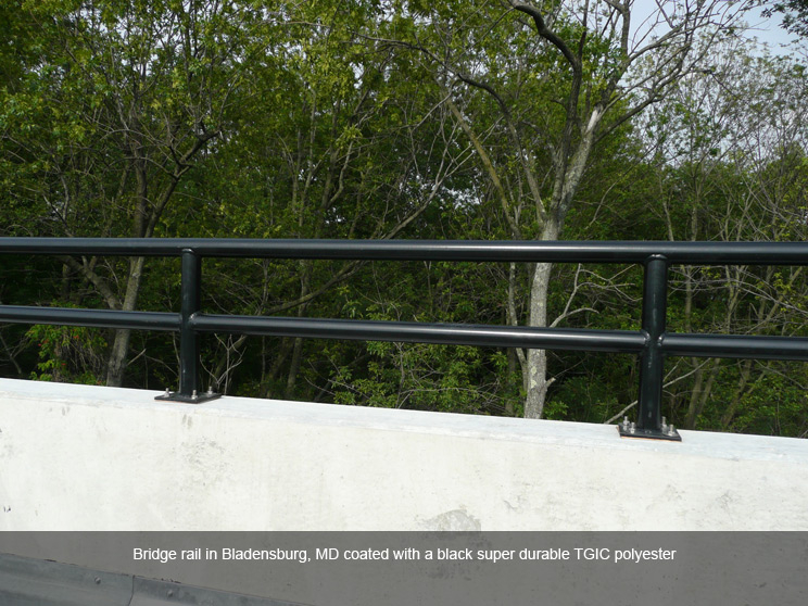 Bridge guard rail with safety coating.
