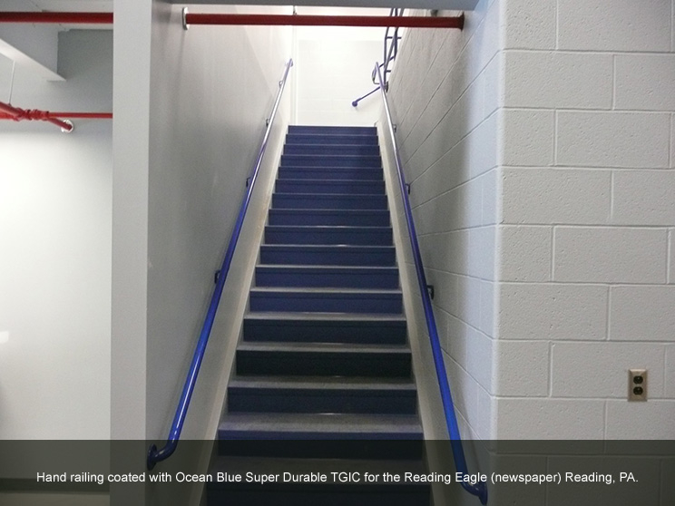 Hand railing with blue durable TGIC.