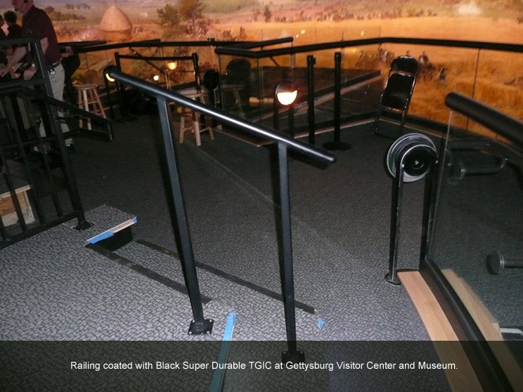 Hand railing with black polyester powder.
