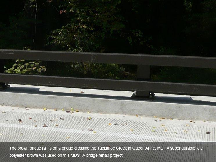 Bridge rail with TGIC polyester powder coating.