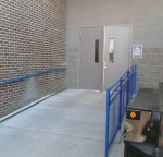 Guide rails with blue safety powder coating.