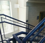 Blue hand rails with blue polyester powder.