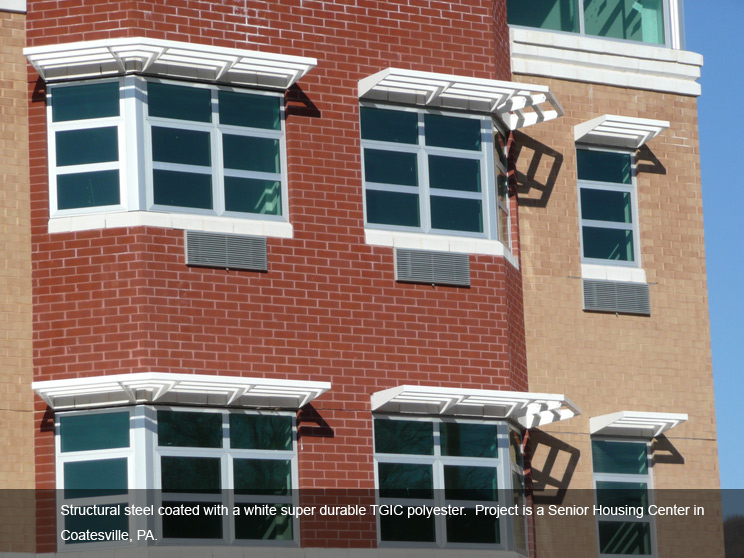 Steel window structures coated in TGIC polyester.
