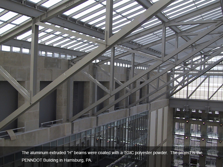 Aluminum beams covered in durable polyester.