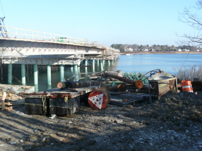 Pipe pile for bridge project in Maine.